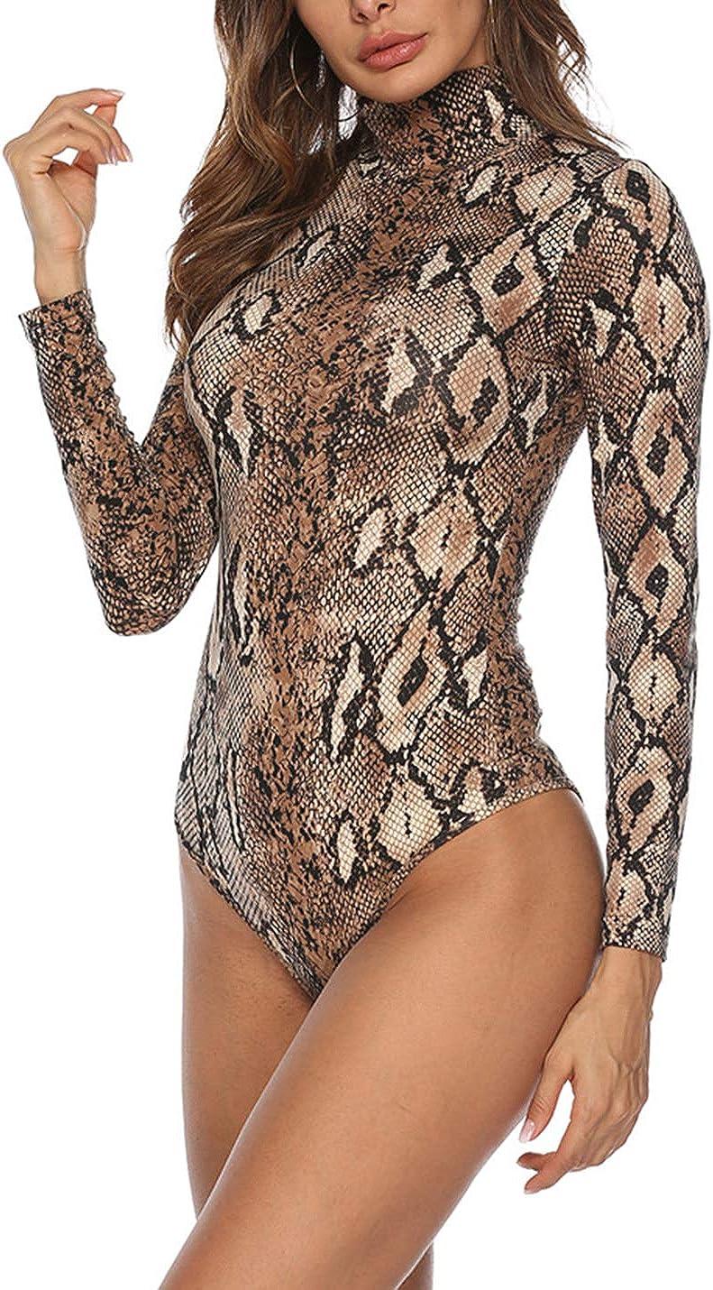 Arlita Women's Mock Turtle Neck/V Neck Long Sleeve Bodysuit Stretchy Leotards Top
