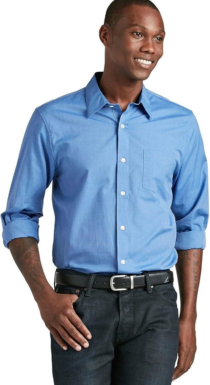 Lucky Brand - Men's Classic Fit - Blue Button Front Cotton Pocket Shirt