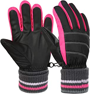 VBG VBIGER Boys Girls Winter Gloves Kids Ski Snow Snowboard Gloves Warm Biking Sports Gloves for Children 6-12 Years Old