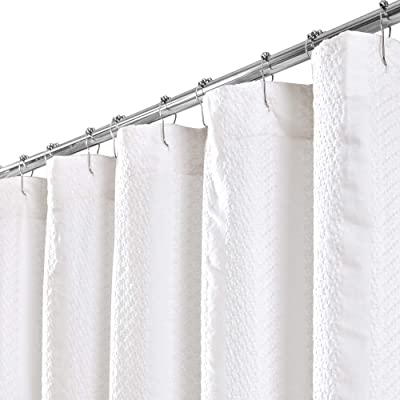 Brielle Home Bille Solid Garment Washed Jacquard Stripe Fabric Shower Curtain, 72 x 84, White