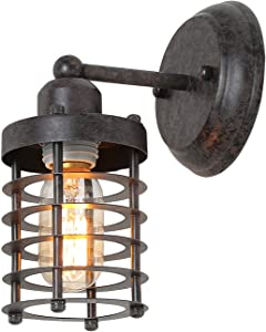 LNC Wall Light Fixture, Farmhouse Barn Warehouse Mini Cage Sconce Indoor Wall Lamp with Brown Rust, A03481
