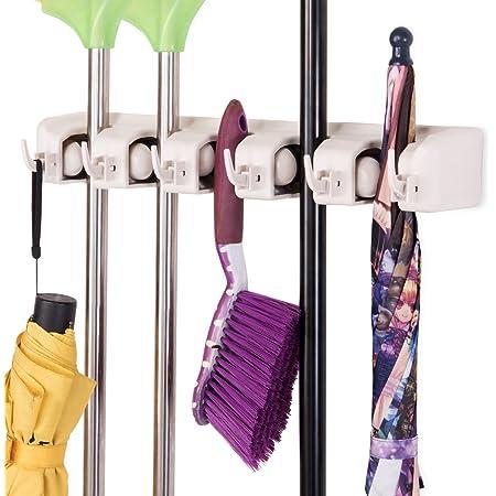 Sweep Mop Holder Broom Hanger Rack Kitchen Garage Tool Organiser WHT 3 Slot