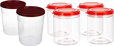 Amazon Brand - Solimo 2-Piece Kitchen Storage Container Set, 7.5 litres, Brown Lid & Marvel Jar with Snapfit Cap, 475 ml, Set of 4, Red Combo