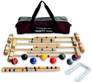 8-Player Deluxe Amish Crafted Croquet Game Set with Carry Bag