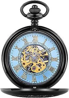 Pocket watch Montre de Poche - Grand Rabat Haut de Gamme mécanique Montre de Poche Vintage Sculpté ajourées Vapeur Style à...