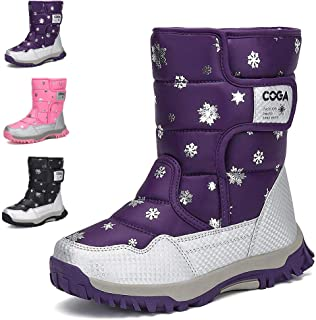 MEAYOU Kids Snow Winter Boots Outdoor Waterproof Frosty Insulated Ankle Boot Shoes with Fur Lining New for Girls Boys