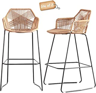 Bar Stools Set of 2 Counter Height Nordic Bar Stools Simple Style Restaurant Cafe Back High Back Stools Iron Rattan Wicker...