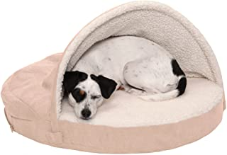 Furhaven Orthopedic Pet Bed for Dogs and Cats - Sherpa and Suede Snuggery Blanket Burrow Nest Dog Bed with Removable Washa...