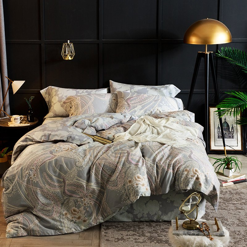 JHLongessなめらかで快適なベッド4ピース綿60ロングステープルコットンプリント4ピース綿1.8 mベッド1.5 mベッド掛け布団カバーシートスイートの寝具(K. Vienna、1.8 mベッド(掛け布団カバー220 * 240 cm))