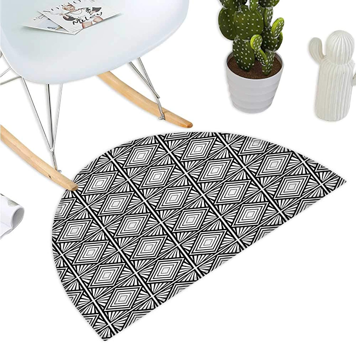 Contemporary Semicircle Doormat Monochrome and Geometric Mosaic Composition with Squares Diamond Shapes Entry Door Mat H 47.2  xD 70.8  Black and White