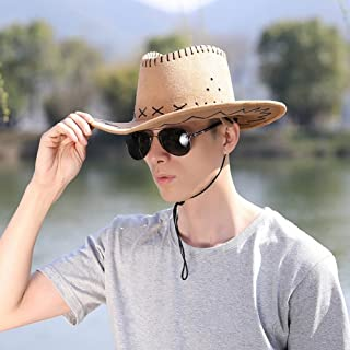 LPKH Sun Hat Men's Outdoor Straw Hat, Travel Sun Screen Big Eaves Beach Cap Breathable Cowboy Fishing Hat Adjustable Chin Band hat (Color : Khaki)