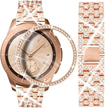 Dsytom Compatible with Galaxy Watch 42mm Band Women+ Bezel, 20mm Jewelry Stainless Steel Watchband & Bezel Ring Cover Diamond Strap Bracelet for Samsung Galaxy Watch 42mm/Gear Sport(Rose Gold)