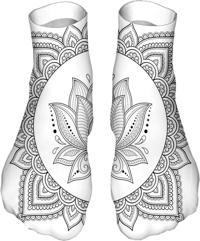 Men's and Women's Fun Socks Printed Cool Novelty Funny Socks,Henna Mehndi Tattoo Art Lotus Flower Motif Oriental Style