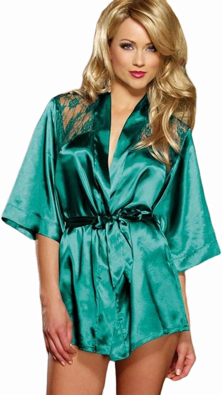 FKYBDS Women's Kimono Robe Bathrobe Nightgown Babydoll Sexy Pajamas Lounge Lingerie set Sleepwear