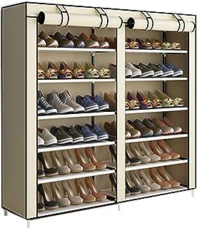 ACCSTORE Etagères à Chaussures de Rangement Armoire en Tissus Rangement Étanche Étagères à Chaussures 2 X 6 Couches,Beige