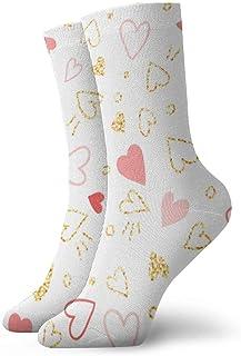 wwoman, Calcetines de vestir estampados para hombre y mujer Calcetines dorados con purpurina dorada y corazones rosados Calcetines coloridos divertidos y novedosos Crazy Crew 30 cm