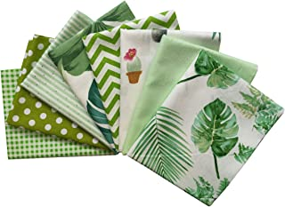 Misscrafts 7PCS Floral Fabric 18 x 22 Green Tropical Summer Time Fat Quarters Fabric Bundles for Quilting Sewing Crafting