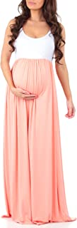 Women's Sleeveless Ruched Color Block Maxi Maternity...