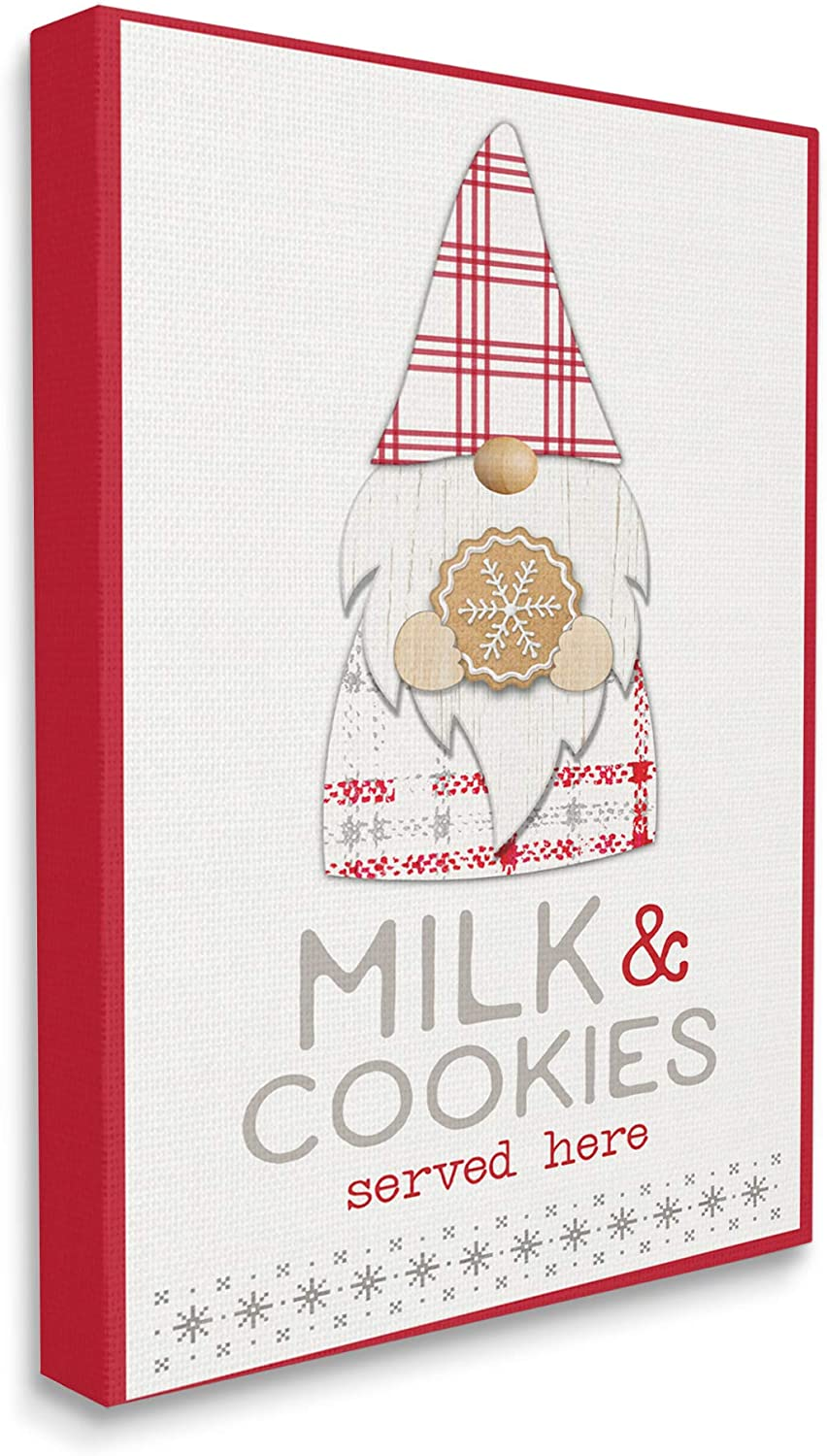 Stupell Industries Some reservation OFFer Milk and Cookies Gnome Phrase Plaid Christmas
