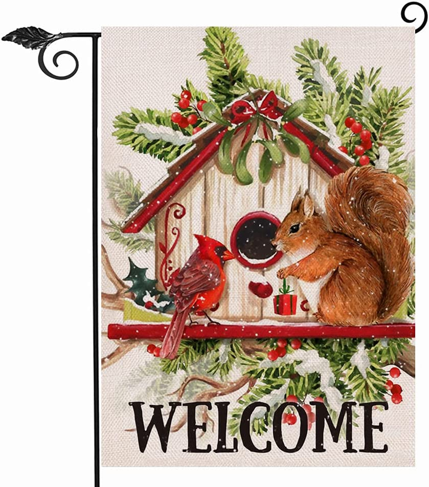 Hzppyz Welcome Christmas Cardinal Squirrel Garden Yard Flag Double Sided, Decorative Birdhouse Red Berry Pine Tree Branch Outdoor Small Decor, Winter Farmhouse Home Outside Burlap Decoration 12 x 18