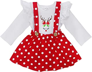 Suspender Skirt 2 Piece Outfit, Girls Toddler Fall Winter Christmas Holiday Dress Up Boutique Outfit