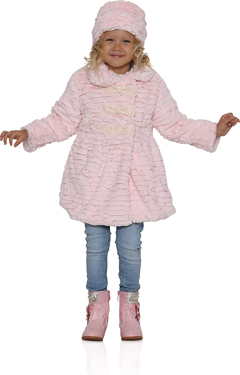 Widgeon Little Girls' 3 Bow Faux 67% OFF of fixed price Hat Import Coat Wav with Fur Textured