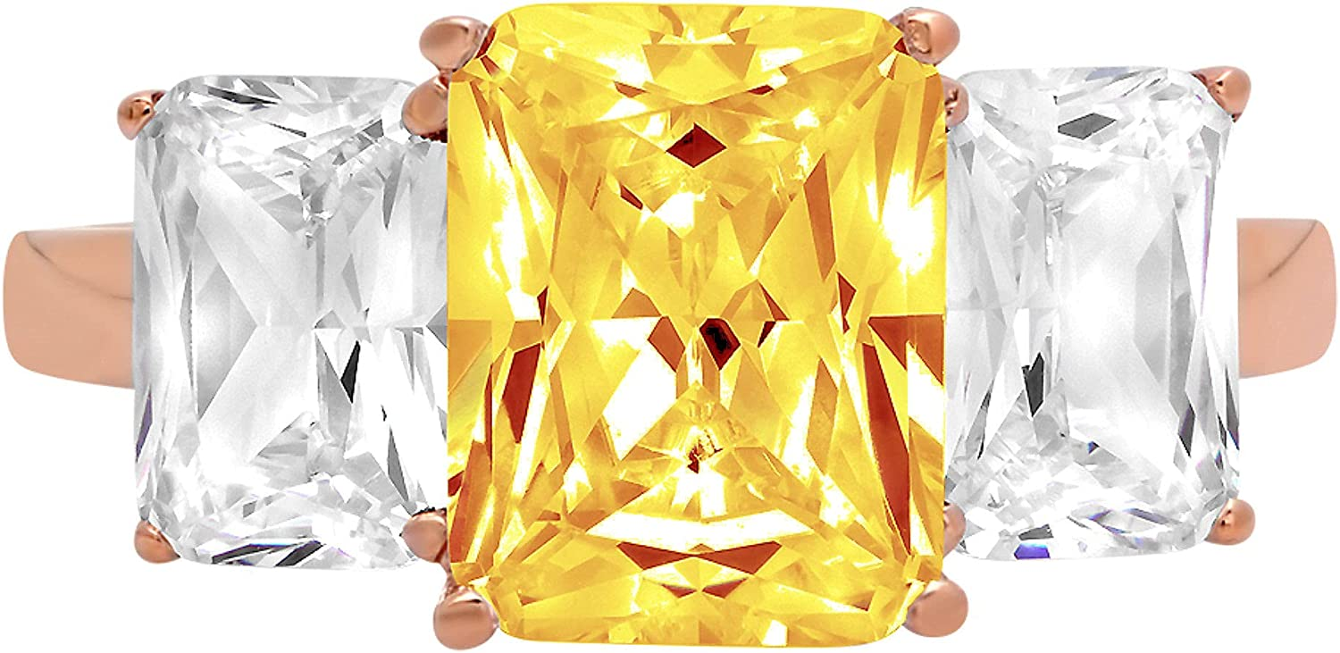 4.0ct Brilliant Emerald Cut 3 Stone Solitaire Accent Genuine Flawless Natural Yellow Citrine Gemstone Engagement Promise Anniversary Bridal Wedding Ring Solid 18K Rose Gold