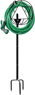 SAND MINE Garden Hose Holder, Free Standing Garden Water Hose Stand Holders Hanger for Outside Hose Organizer, Black