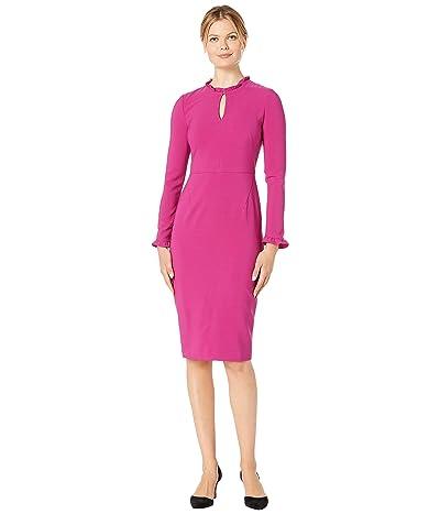Maggy London Mystic Crepe Ruffle Neck Sheath Dress (Raspberry) Women