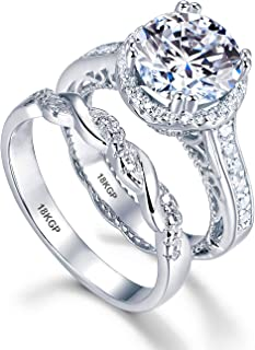 White Gold Plated 18K 3 Microns Thickness Over Sterling Silver Solid 925 Engagement Wedding Rings Set Women 9 mm 2.5 Carats Cubic Zirconia 5A Bridal Marriage Proposal Valentines