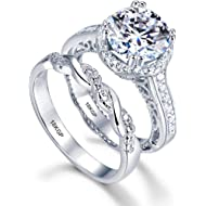 AndreAngel White Gold Plated 18K... AndreAngel White Gold Plated 18K 3 Microns Thickness Over Sterling Silver Solid 925 Engagement...