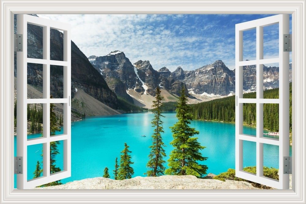 Peel And Stick 3d Wall Decal Sticker Nuature Lake And Mountain Scenery Window View Home Décor Art Removable Wall Murals For Living Room 32x48 Inches Home Au
