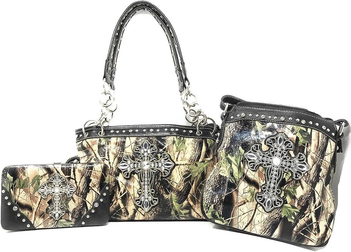 Premium Rhinestone online shop Camouflage Portland Mall Cross Leather Purs Handbag Women's