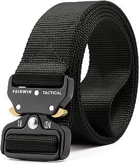 Tactical Belt, Military Style Webbing Riggers Web Belt Heavy-Duty Quick-Release Metal Buckle