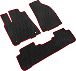 iallauto All Weather Floor Liners Custom Fit Toyota Highlander 2015 2016 2017 2018 2019 Heavy Duty Rubber Car Mats 2 Row Seats Vehicle Carpet Odorless-Black Red