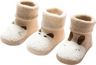 DEBAIJIA, 3 Pares de Calcetines Bebé Algodón organico Grueso Calcetines Térmicos Largo Recién Nacidos 0-36 Meses Invierno Para Niños Niñas