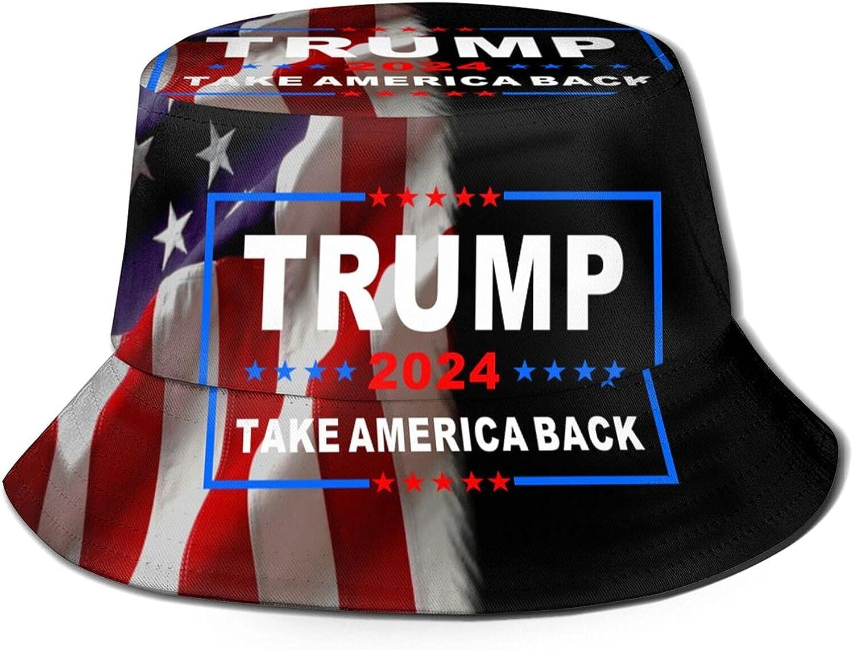 Trump 2024 Take America Back Unisex Bucket Hat Packable Summer Travel Beach Sun Hat Outdoor Fisherman Caps Black