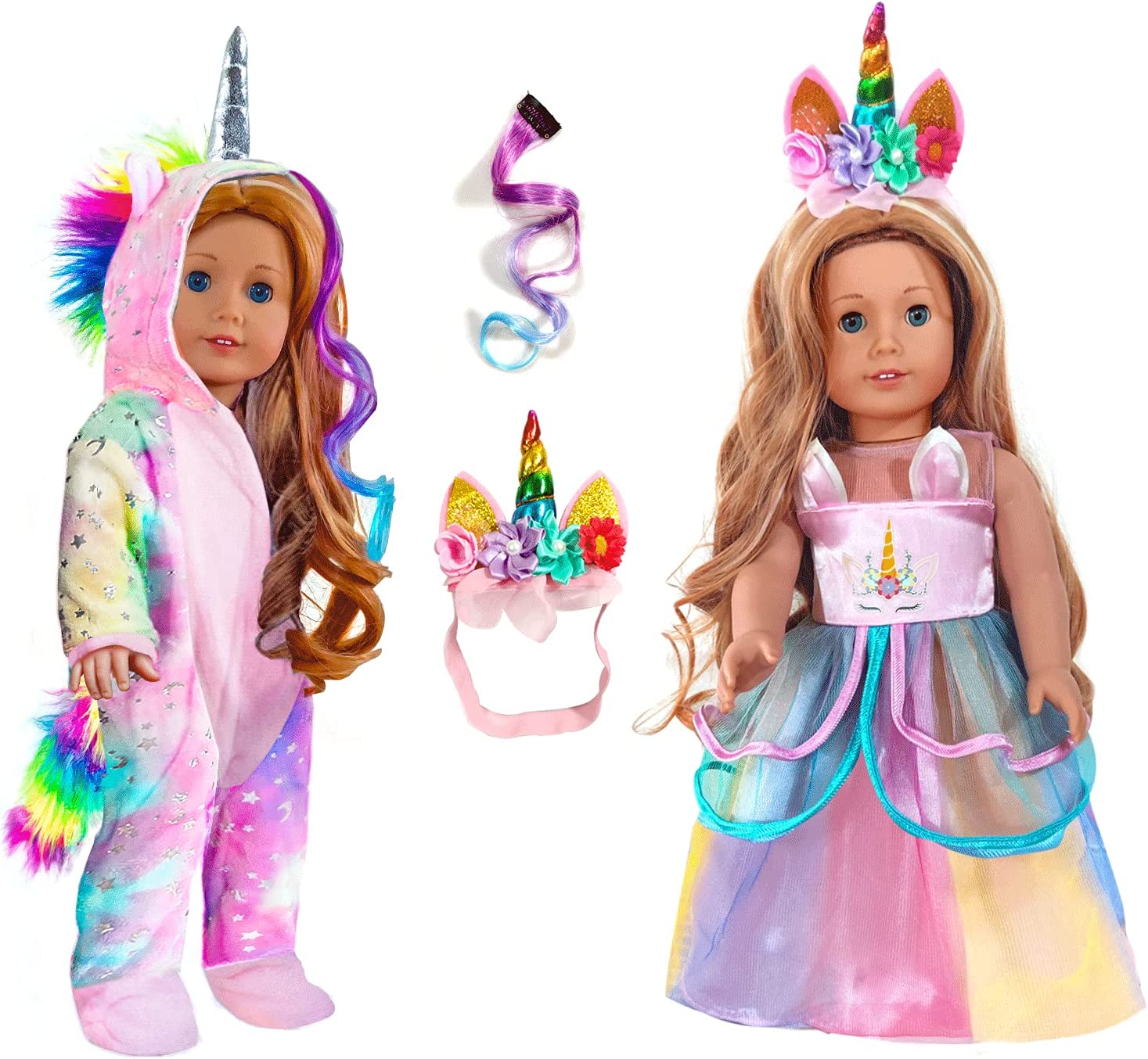 2-Sets 18-inch Doll-Clothes Set - Unicorn Clothes with Hair Clip and Headband - Compatible with All American 18 inch Girl Dolls Like Our Generation, My Life Gotz Dolls Accessories for Kids-Pink