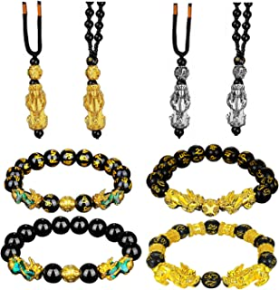Nanafast 8 Pcs Feng Shui Pixiu Bracelets Necklace Set for Women Men Hand Carved Mantra Beads Pi Xiu Bracelet for Attractin...