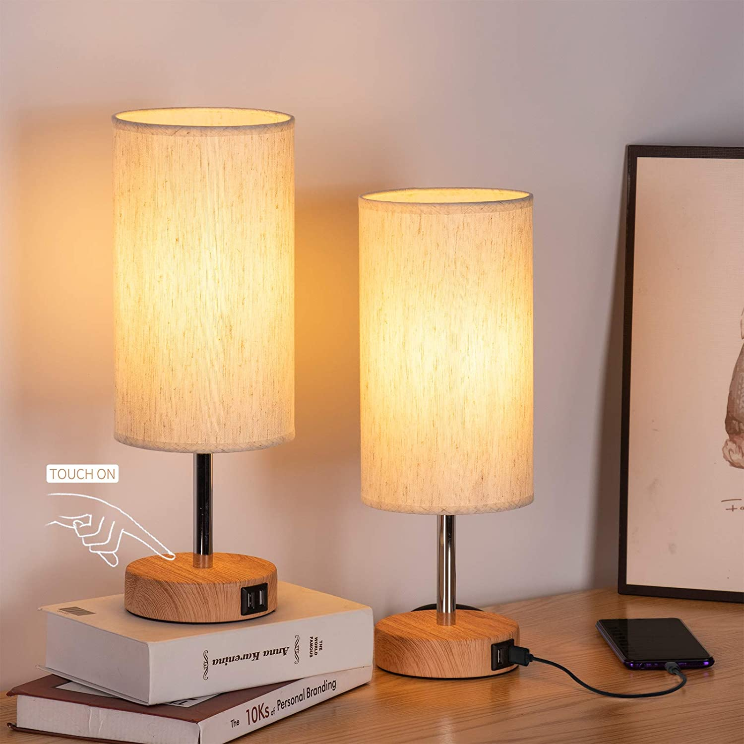Bedside Lamps with USB Port - Touch Bedro Lamp for Overseas parallel import regular item Table Store Control