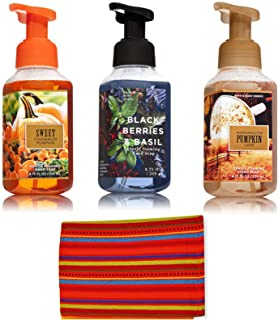 Bath & Body Works Gentle Foaming Hand Soaps Bundle with Over-sized Cotton Kitchen Towel   Sweet Cinnamon Pumpkin + Marshmallow Pumpkin Latte + Blackberries & Basil(8.75oz)   Fall Autumn Harvest Nature