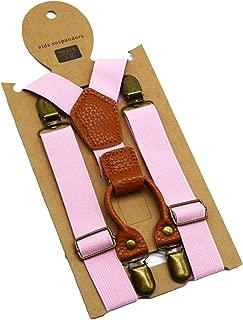 MENDENG Vintage Bronze Clips Suspenders for Kids Boys Wedding Leather Braces