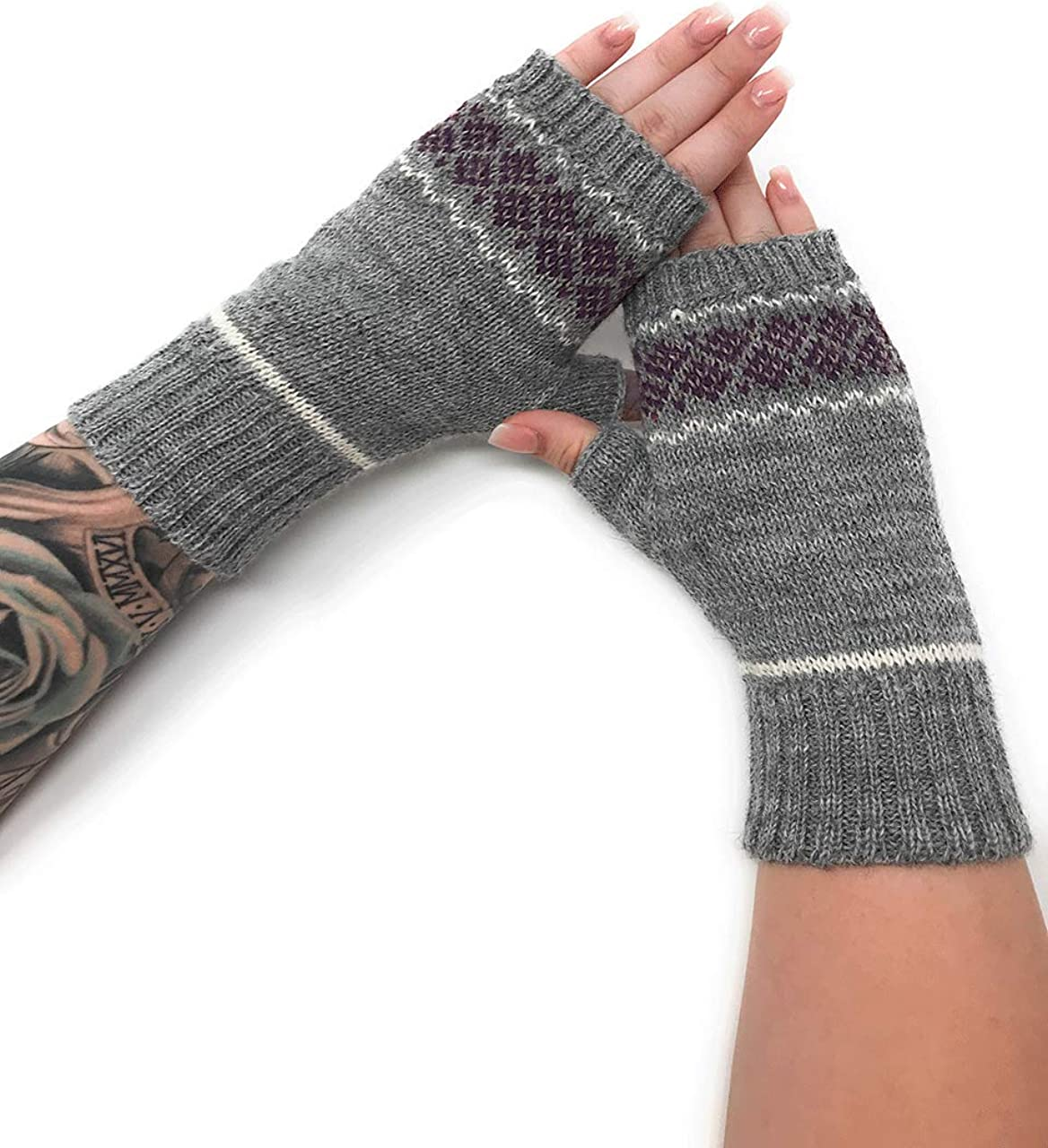 Inca Fashions - Women's 100% Alpaca Wool Fair Isle Geometric Fingerless Mittens -Texting Gloves - Wrist, Hand & Arm Warmers