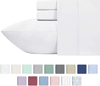 600-Thread-Count 100% Cotton Sheets Pure White King Size, 4-Piece Long-staple Combed Cotton Best-Bedding Sheet Set For Bed, Breathable, Soft & Silky Sateen Weave Fits Mattress Upto 18'' Deep Pocket