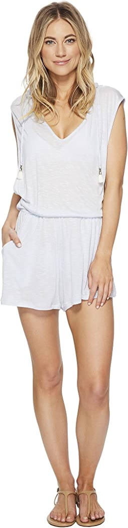 Solid Attitude Hooded Romper Cover-Up with Side Pockets