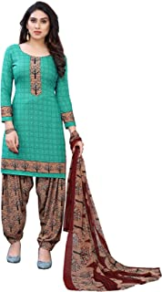 TreegoArt Fashion Women's Salwar Suit French Crep Unstiched Printed Dress material -(Free Size) Rama Green