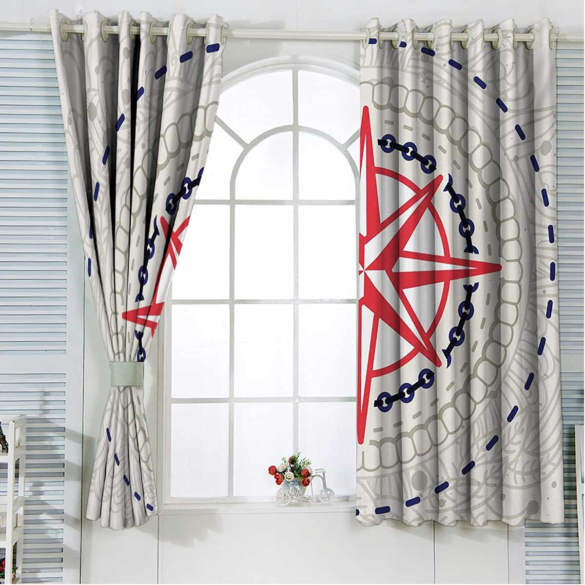 Compass free shipping High quality new Farmhouse Curtains 72 Inch Length Grey Pink Bla Hot Blue
