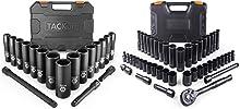 TACKLIFE 1/2'' Drive Impact Socket Set 18PCS and 3/8'' Drive Socket Set Deep and Shallow 46PCS