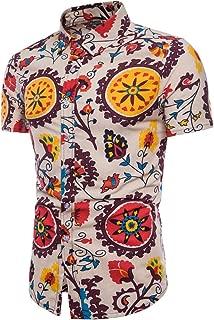 Men's Shirts Summer Bohe Floral Print Button Down Short Sleeve Hawaii Basic Shirts Tee Top