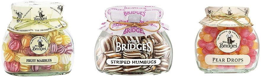 Mrs Bridges English Candy Jars Triple Pack.Striped Humbugs, Fruit Marbles, Pear Drops